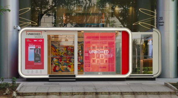 Unboxed, mobile store from Singtel in Singapore, June 2019