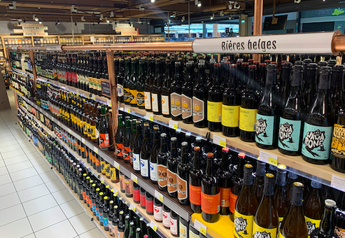 E Leclerc's beer 'cave' in Caudry, December 2020