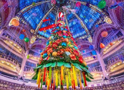 It's Christmas time. Galeries Lafayette, Paris: December 2020
